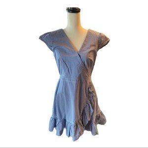 J. Crew Blue Gingham Ruffle Wrap Look Dress Lined